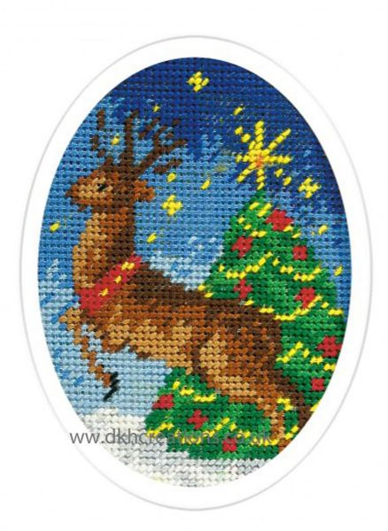Christmas Reindeer And Tree Greeting Card Cross Stitch Kit